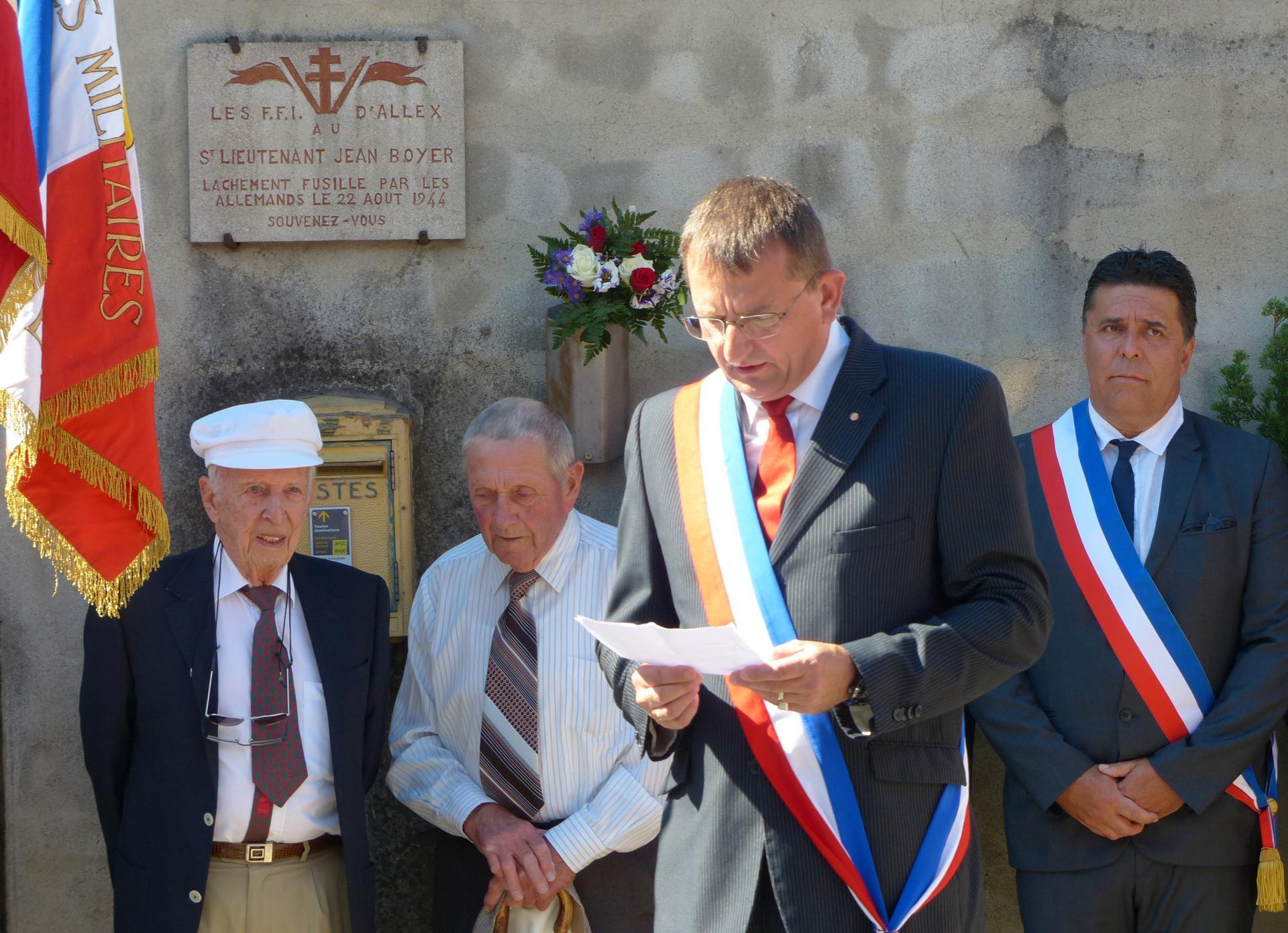 Guerres 1939 1944 commemoration du sabotage du pont de livron baulac raymond et chabanne pierre a gauche 2